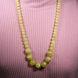 Vintage Lucite Yellow and Gold Statement Necklace